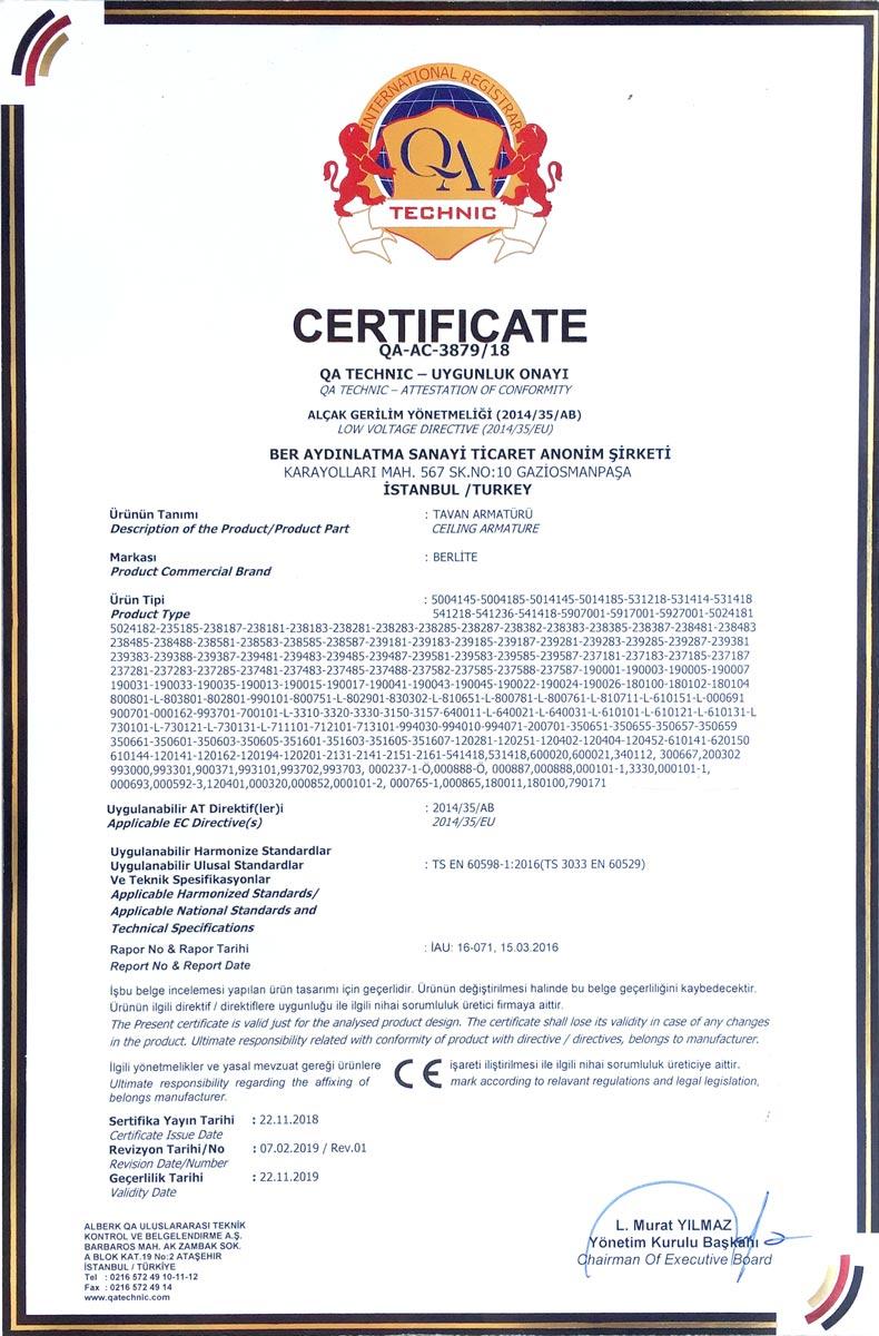 Berlite CE sertifikası